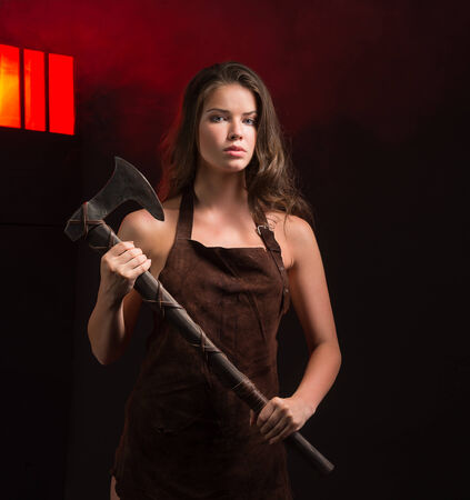 maniac woman with ax