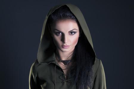 fantasy warrior: Beautiful elf on a gray background Stock Photo