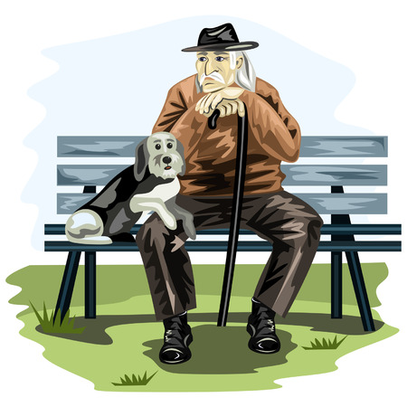 sitting on a bench: Man Illustration