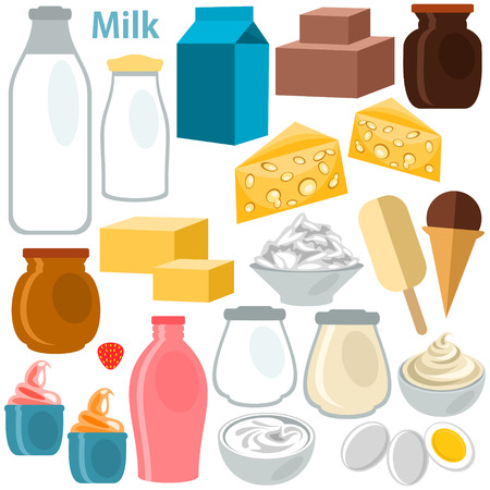 dairy product: Dairy Product on white  Illustration