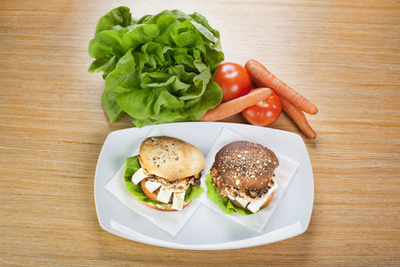 Grill Sandwich with fresh vegetables in the background Banco de Imagens - 42466655