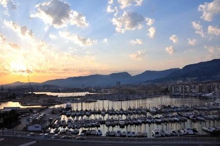 toulon: Toulon harbor at dusk