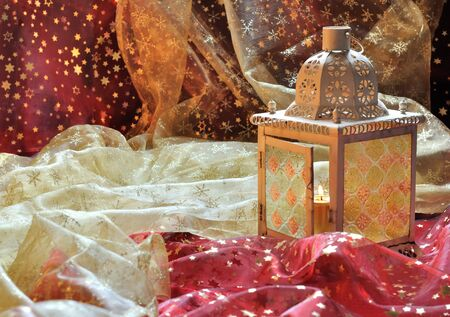 candle holder: lantern in patterned fabrics Christmas