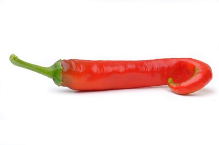 incurved: red hot pepper in white background