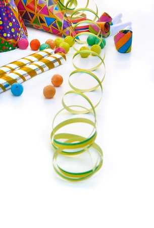 different party favors on white background