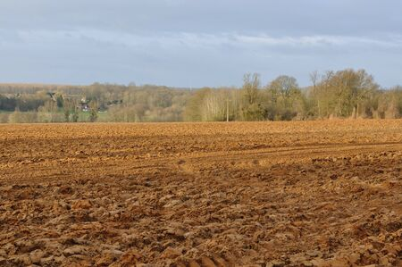 plowed: land plowed field under a cloudy sky