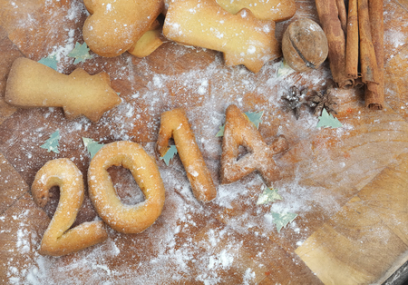 2014 handmade with cookies on  wooden board  Stock Photo
