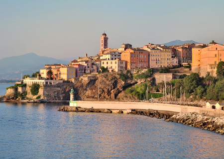 Houses and buildings in the city of Bastia with beautiful colors of dusk