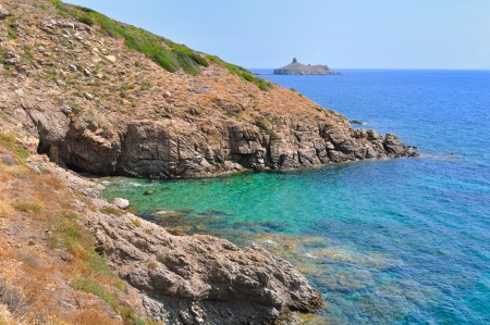 corse: Turquoise blue sea on the rocky coast of Cap Corse