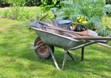 gardening tools in a wheelbarrow with potted flowers