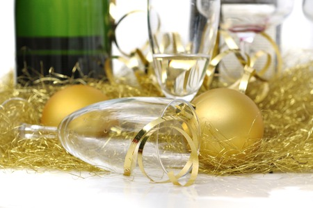 overturned: glass of champagne overturned in festive decoration
