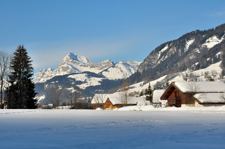 chalets: Wooden chalets in a village in the mountains covered with snow