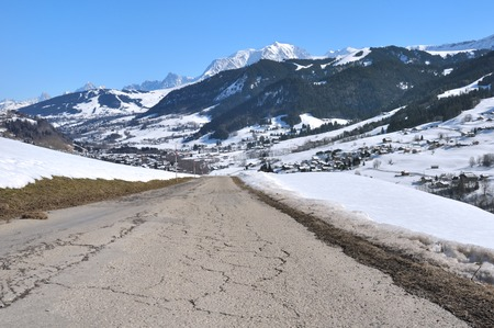 mounting: mounting road heading to a village in the Mont Blanc valley