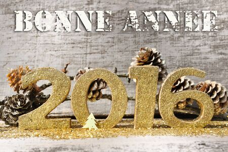 bonne: golden figures with text 2016 Happy New Year (bonne annee in french) on wooden background Stock Photo