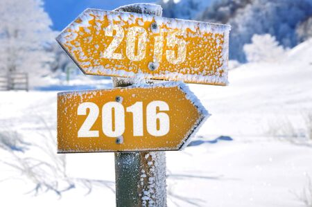 signposted: two panels yellow mountain overlooking the opposite direction 2015 - 2016 Stock Photo
