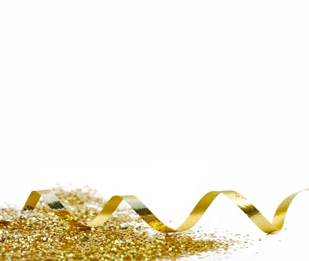 ribbon and golden confetti on white background