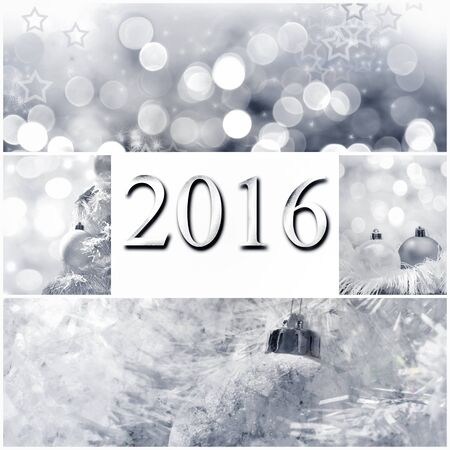 2016 greeting card on Christmas decoration collage -