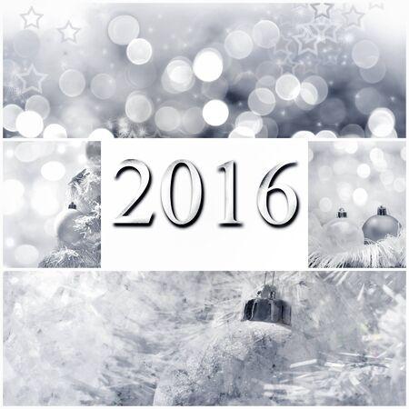 2016 Grußkarte auf Weihnachtsdekoration collage - Standard-Bild - 49158348