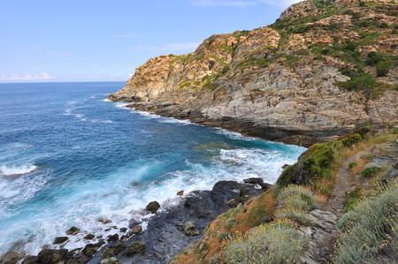 corse: surging sea at the edge of the cliffs - Cap Corse Stock Photo