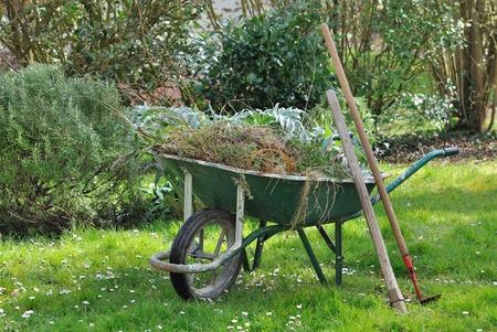 Carretilla llena de hierbas y herramientas jardín en un jardín Foto de archivo