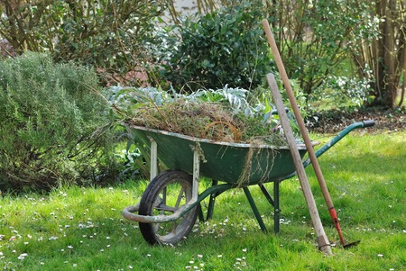 wheelbarrow full with garden weeds and tools in a garden Stockfoto