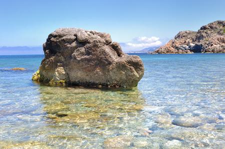 sea cliff: beautiful sea landscape with rocks in Corsica