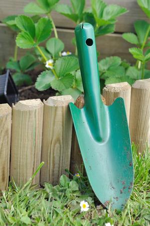 dibble: shovel against a wooden border in garde
