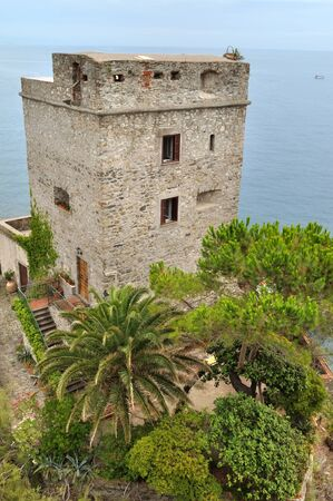 seafront: genovese tower with garden on seafront