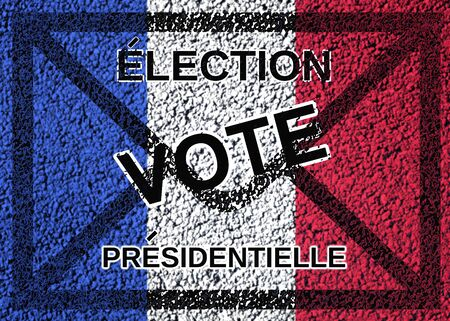 text in french presidential election vote on ballot and french flag background  Stock Photo