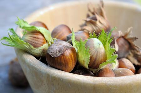 fresh hazelnuts in a wooden bowl Stok Fotoğraf - 80250141