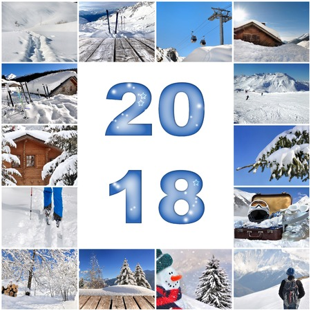 2018 greeting card with collage of winter vacation