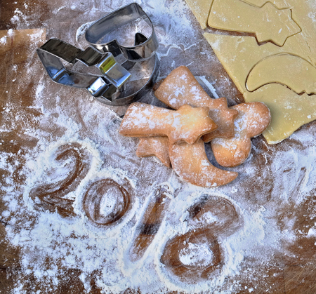 2018 written in flour with homemade cookies  Stock Photo