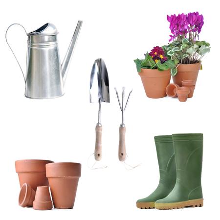 arrangement of gardening equipment and flowerpot on white background 写真素材
