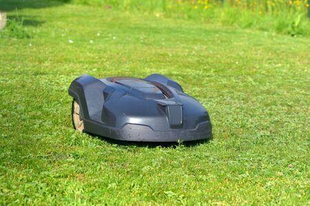 robotic lawnmower on the grass in garden Stockfoto