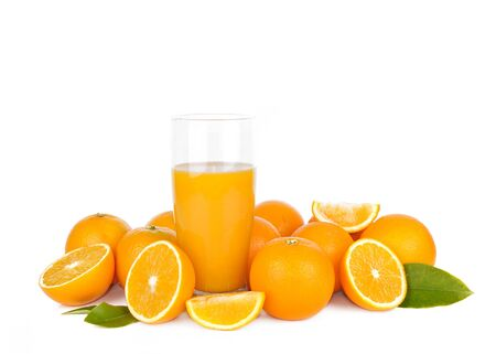 drink of freshness orange juice among fruits on white background