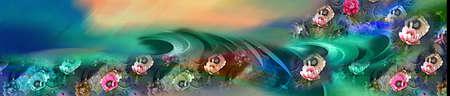 colorful digital saree design For Textile Printing Stock Photo