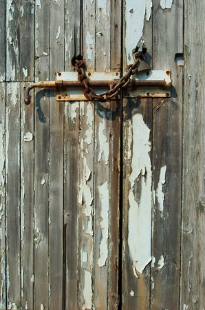 Locked wooden door 스톡 콘텐츠 - 7976111