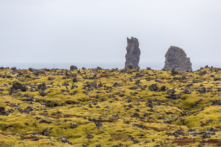 lava field: Lava field with lush green moss and rugged cliffs on the Icelandic south coast at Snaefellsnes peninsula. Rock formations tower above the seashore. Horizon above sea visible in the hazy background Stock Photo