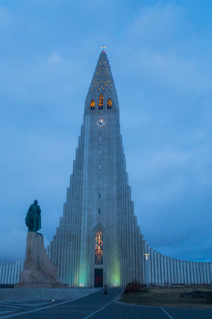 The Hallgrimskirkja, a Lutheran church in the center of Reykjavik. It was designed by state architect Guà ° jón Samúelsson. Its vertical patterns resemble columnar basalt formations Typically found in Icelands volcanic landscapes. In front of the tall