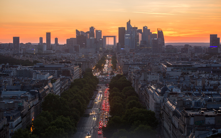 High angle view of La Defense showing the skyline of Paris at sunset