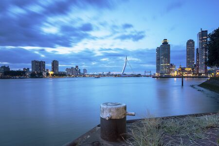 Rotterdam skyline during the blue hour, long exposure.