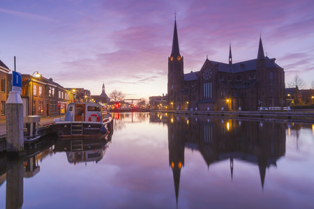 historical reflections: The historical village Leidschendam, located in the Netherlands at the Rijn-schiekanaal Stock Photo