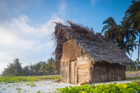 shack: A Shack on a beach with vegetation at Zanzibar, Tanzania.