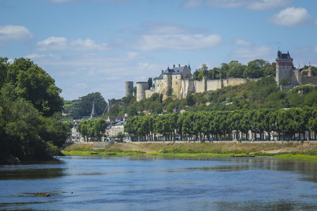 chinon: The river La Vienne streaming towards the historical city Chinon, Indre-et-Loir, France.