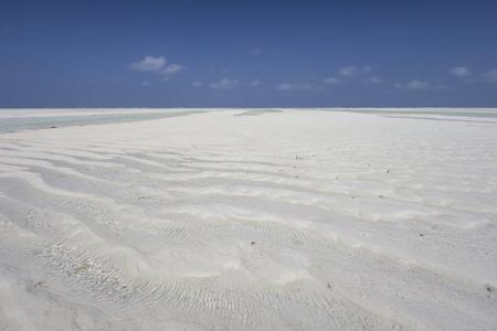 arena blanca: Una playa de Zanz�bar con arena blanca en la marea baja.