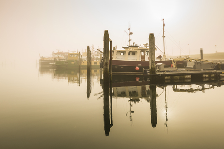 peacefull: Fishing boats awaiting delayed departure in the harbour of Bruinisse, Zeeland, due to heavy fog during sunrise. Calm water and a peacefull scenery with boats in the harbour.