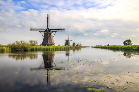 Traditional Dutch Windmills Kinderdijk on a sunny day late summer. Reflection visible on the water surface.