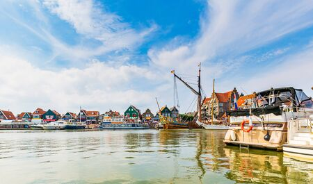 Volendam view at the harbour, traditional Dutch fishing village located at  Markermeer lake.