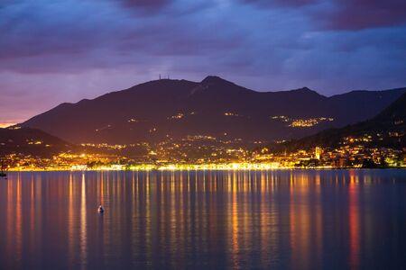 Salo, Italy, beautiful sunset above water at Lake Garda