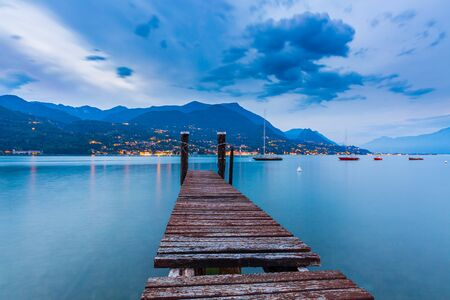 Barbarano di Salo, Italy, beautiful sunset above water at Lake Garda Banco de Imagens